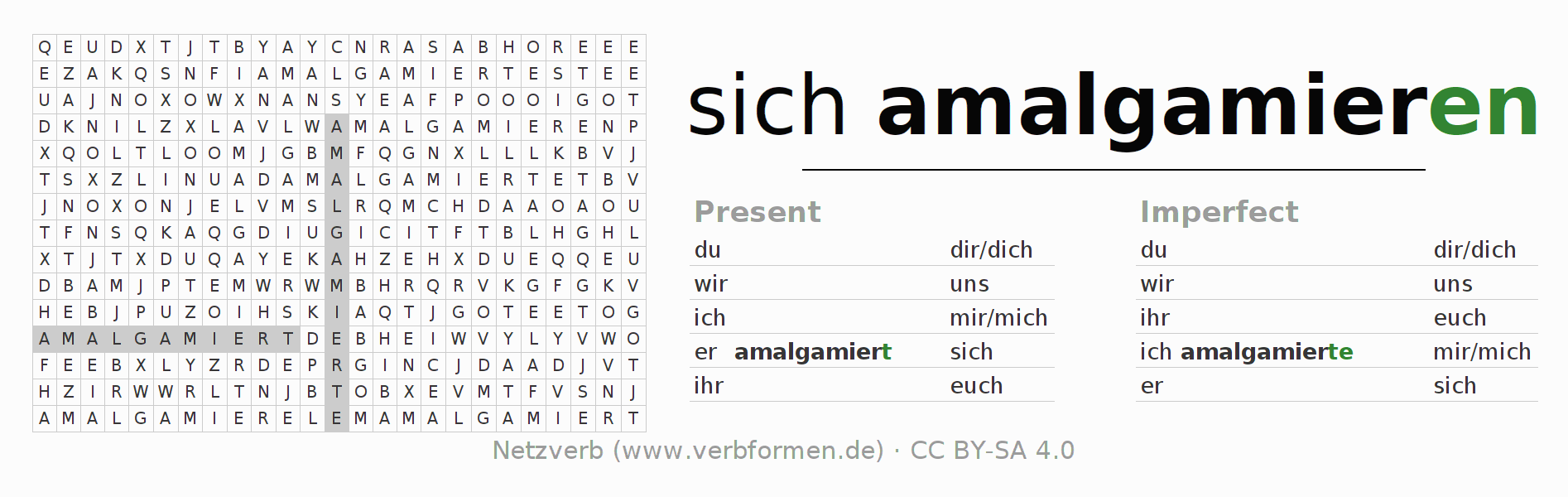 Word search puzzle for the conjugation of the verb sich amalgamieren