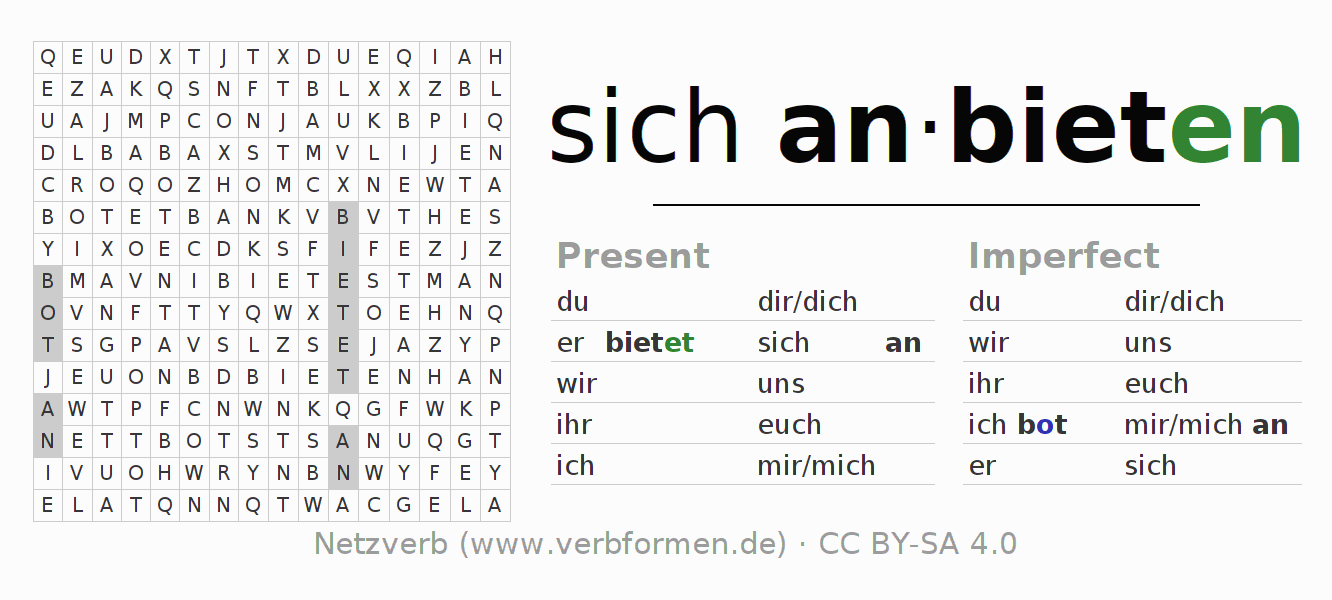 Word search puzzle for the conjugation of the verb sich anbieten