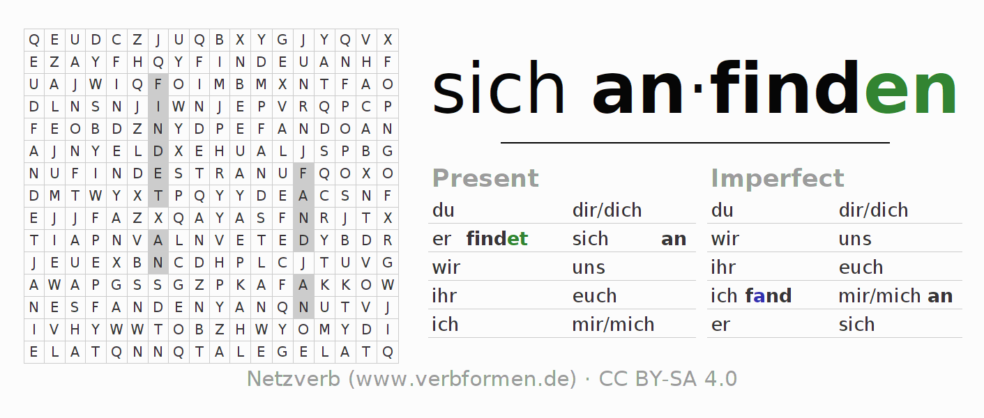 Word search puzzle for the conjugation of the verb sich anfinden