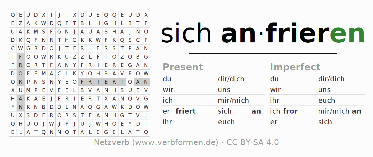 Word search puzzle for the conjugation of the verb sich anfrieren (hat)