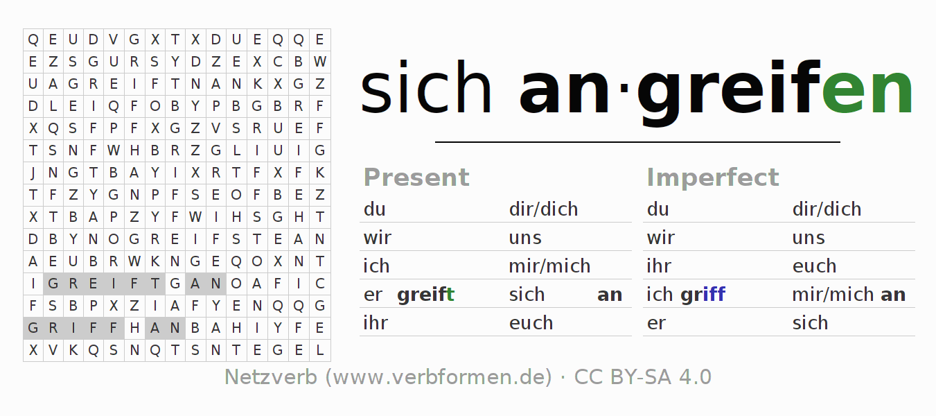 Word search puzzle for the conjugation of the verb sich angreifen