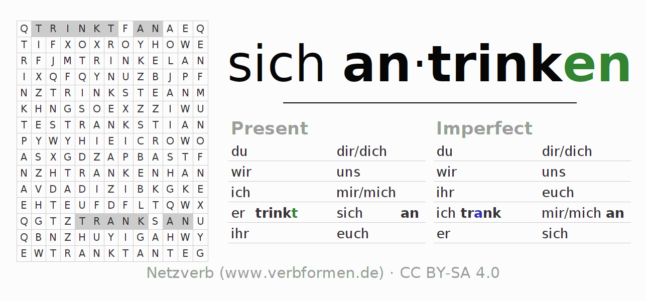 Word search puzzle for the conjugation of the verb sich antrinken