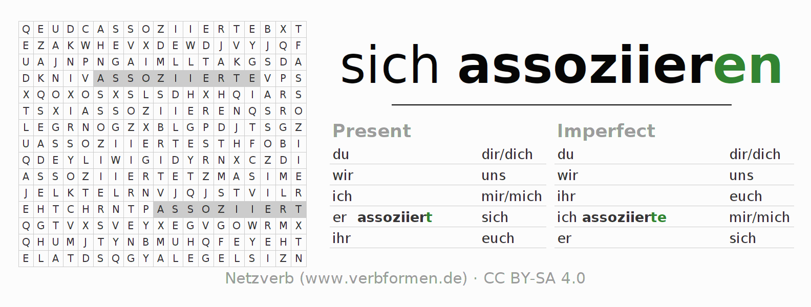 Word search puzzle for the conjugation of the verb sich assoziieren
