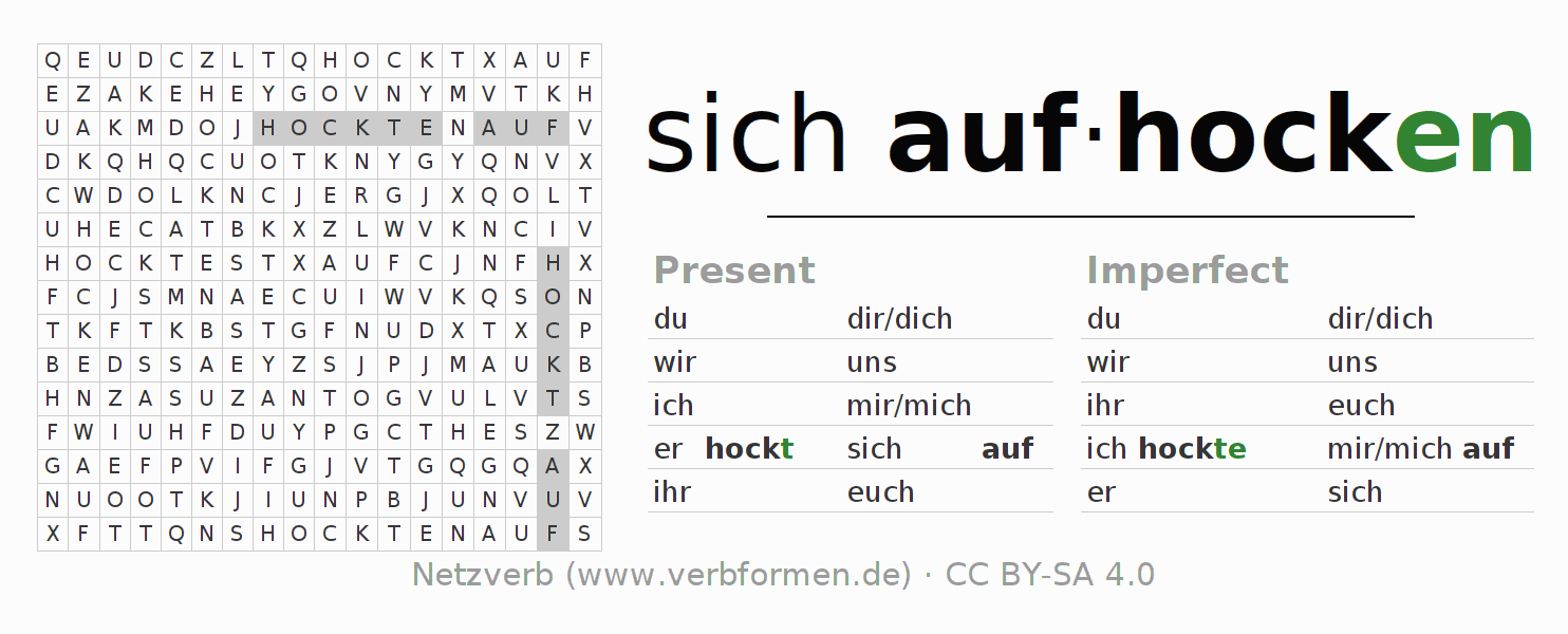 Word search puzzle for the conjugation of the verb sich aufhocken (hat)