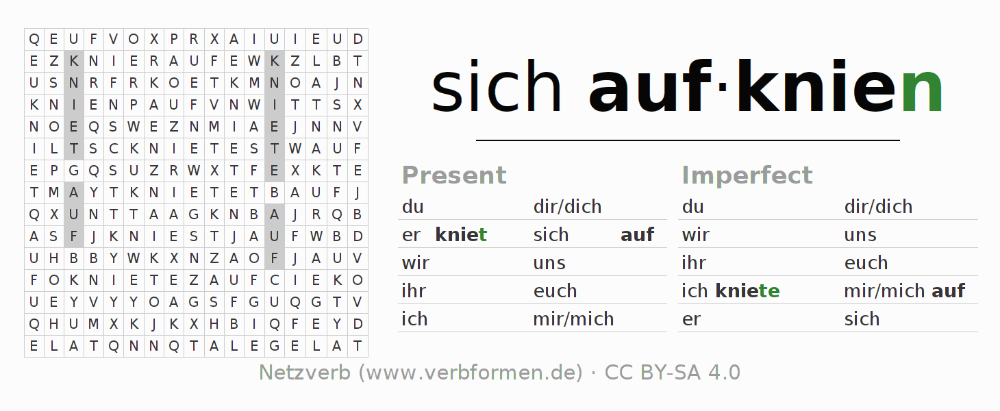 Word search puzzle for the conjugation of the verb sich aufknien (hat)