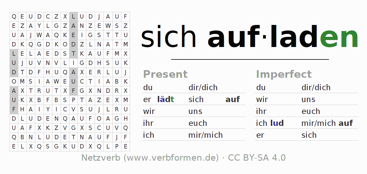 Word search puzzle for the conjugation of the verb sich aufladen