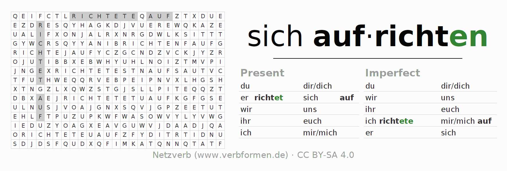 Word search puzzle for the conjugation of the verb sich aufrichten