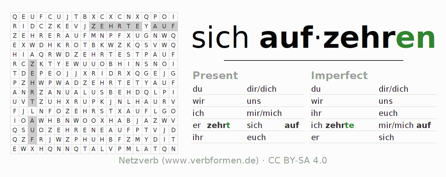 Word search puzzle for the conjugation of the verb sich aufzehren