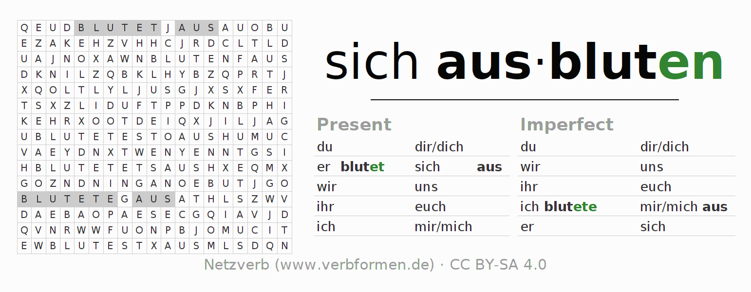 Word search puzzle for the conjugation of the verb sich ausbluten (hat)