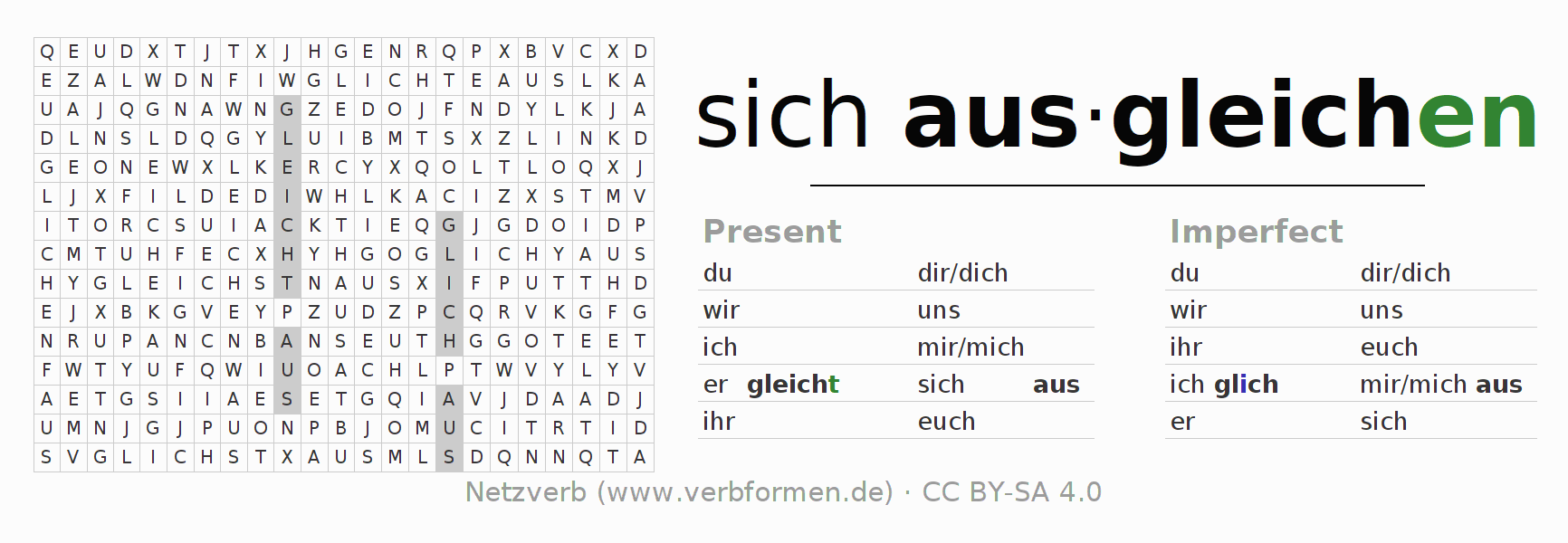 Word search puzzle for the conjugation of the verb sich ausgleichen