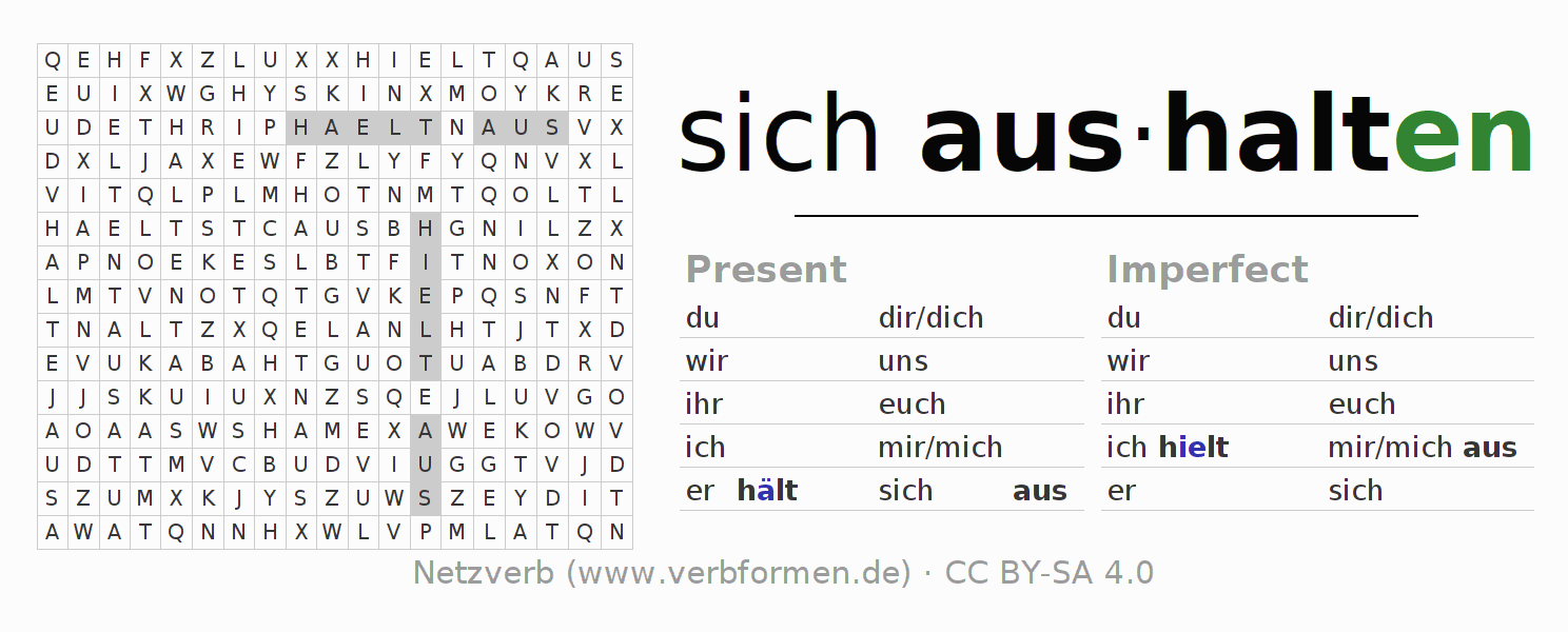 Word search puzzle for the conjugation of the verb sich aushalten