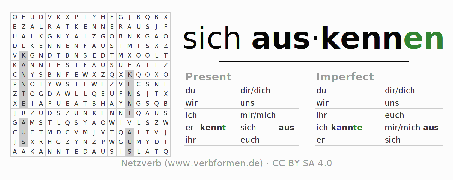 Word search puzzle for the conjugation of the verb sich auskennen