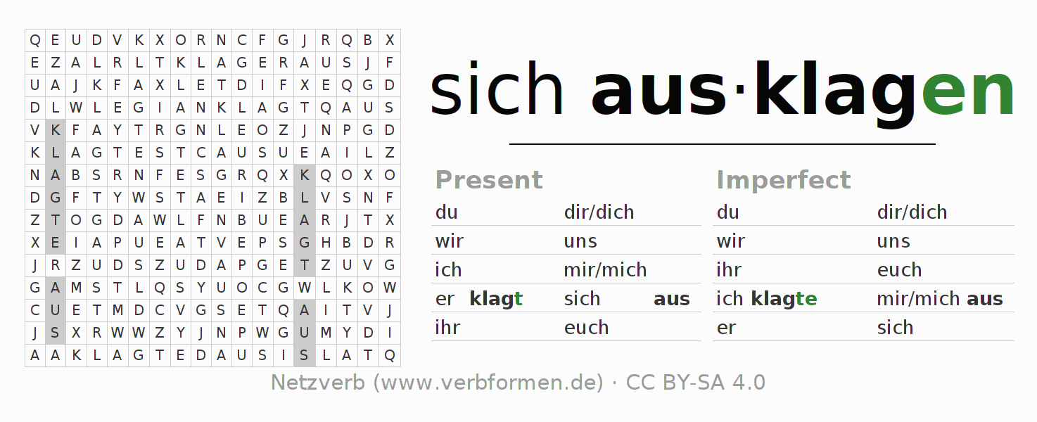 Word search puzzle for the conjugation of the verb sich ausklagen