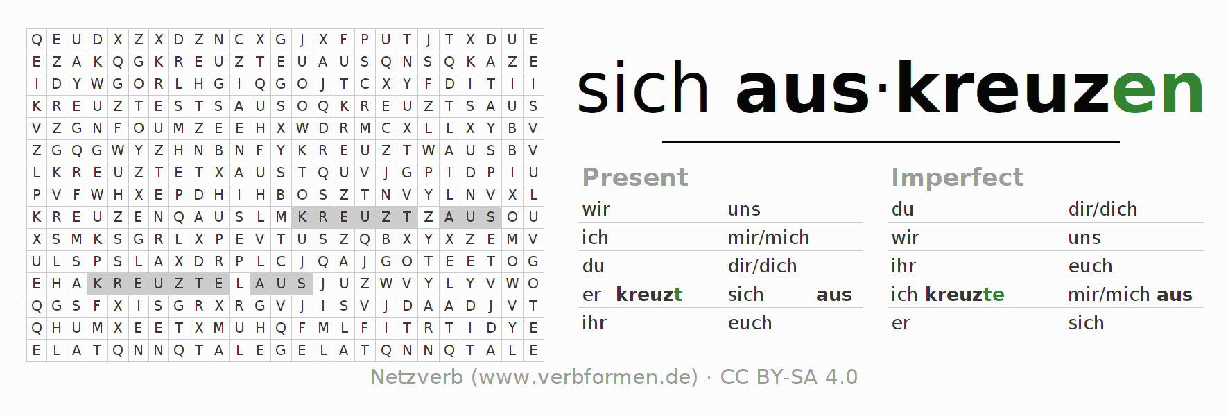 Word search puzzle for the conjugation of the verb sich auskreuzen