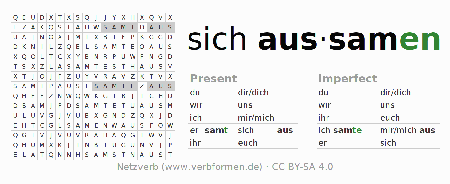 Word search puzzle for the conjugation of the verb sich aussamen