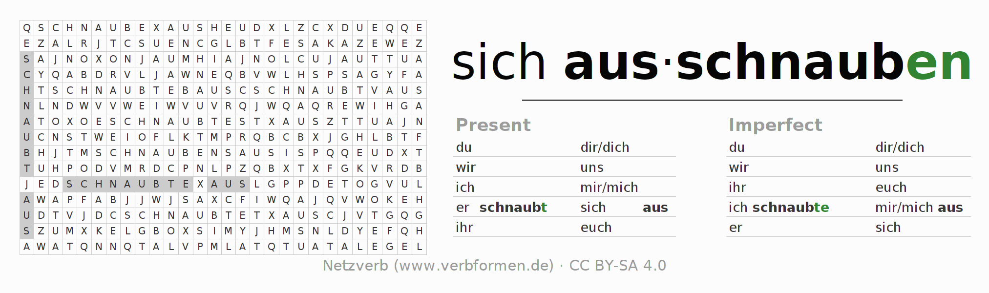 Word search puzzle for the conjugation of the verb sich ausschnauben (regelm)