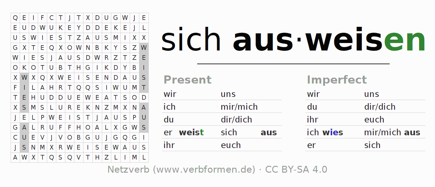 Word search puzzle for the conjugation of the verb sich ausweisen