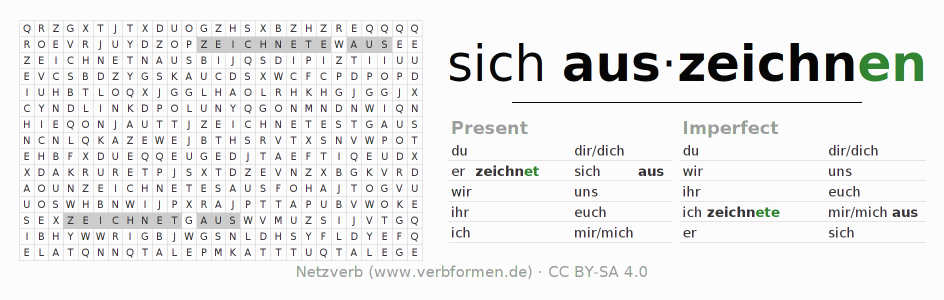 Word search puzzle for the conjugation of the verb sich auszeichnen