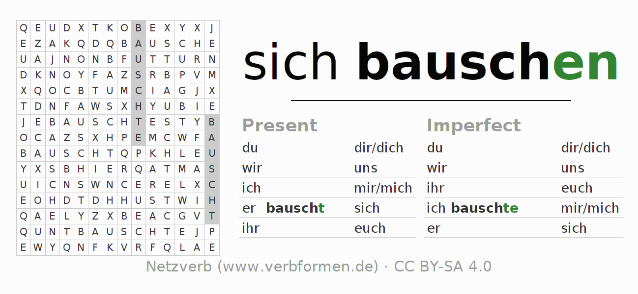 Word search puzzle for the conjugation of the verb sich bauschen