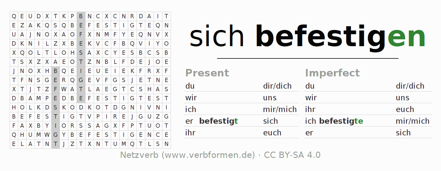 Word search puzzle for the conjugation of the verb sich befestigen