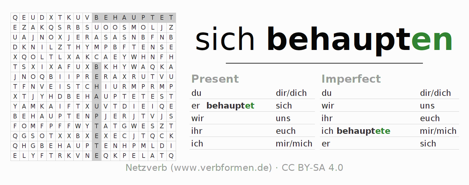 Word search puzzle for the conjugation of the verb sich behaupten