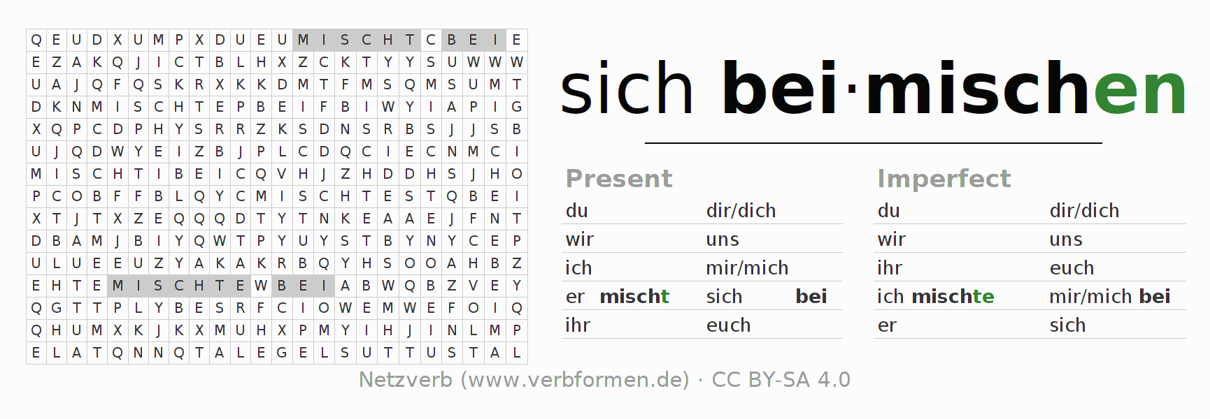 Word search puzzle for the conjugation of the verb sich beimischen