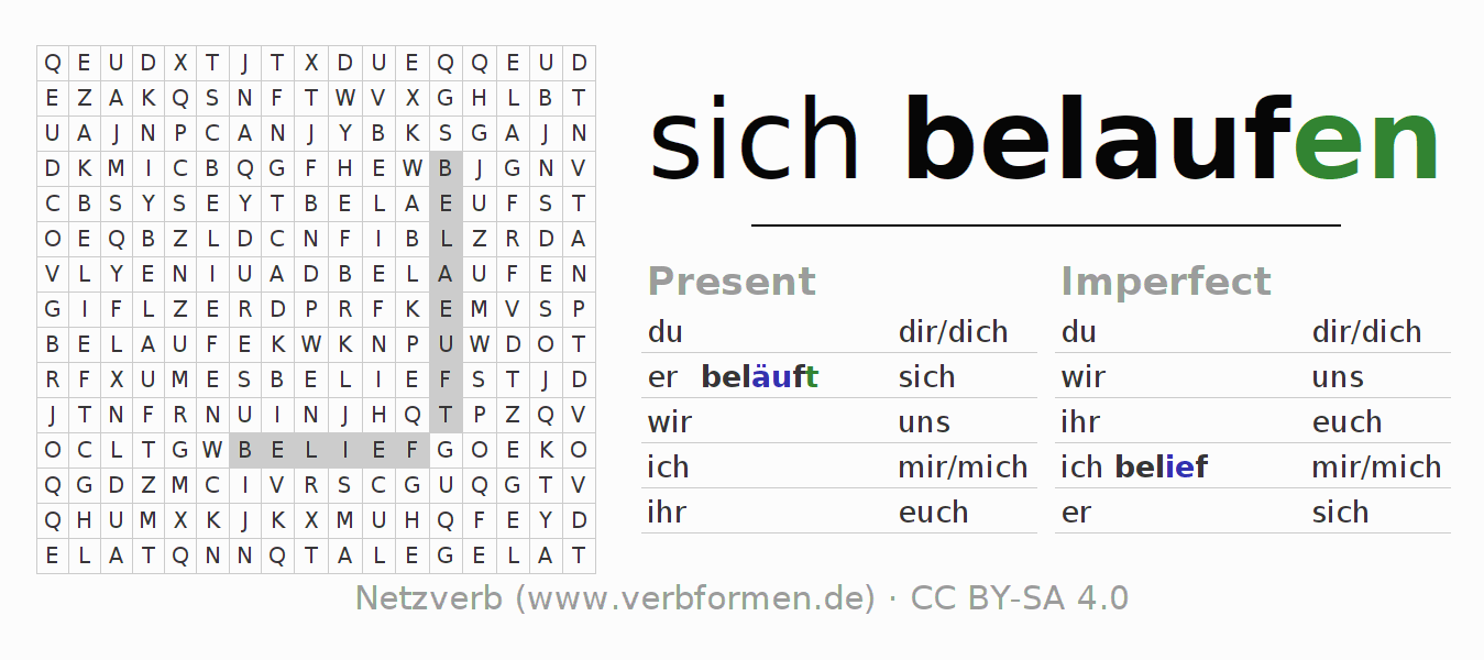 Word search puzzle for the conjugation of the verb sich belaufen (hat)