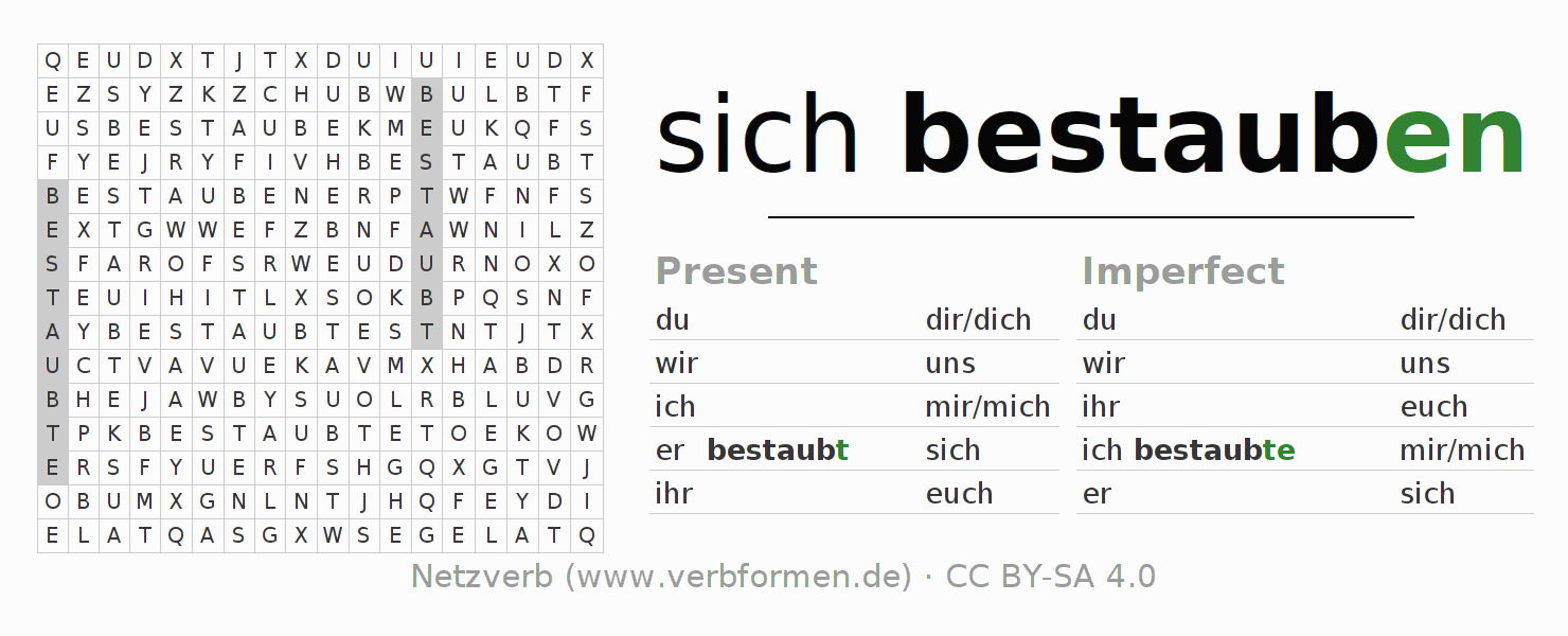 Word search puzzle for the conjugation of the verb sich bestauben