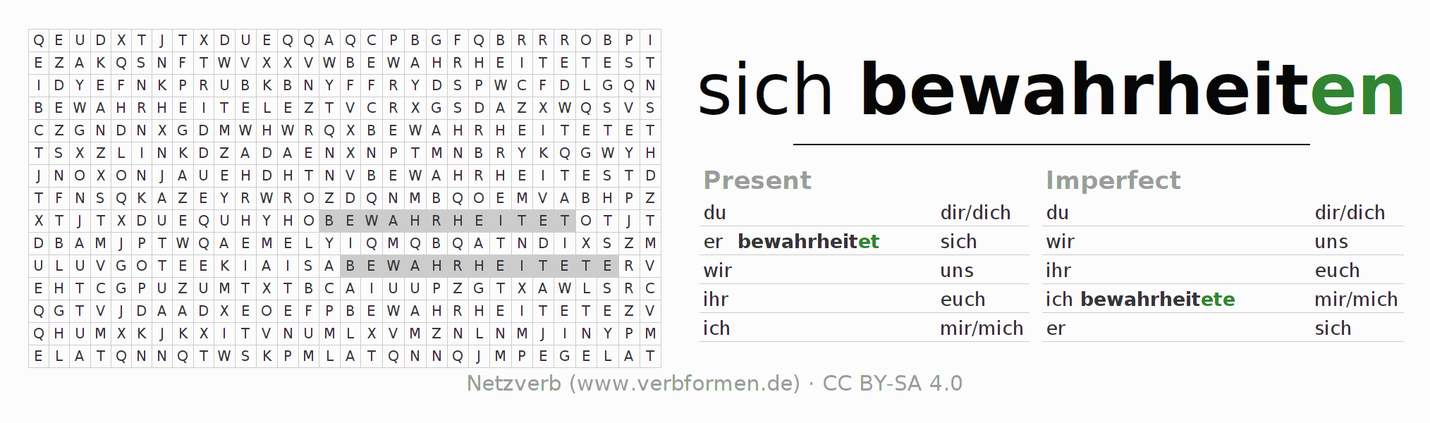 Word search puzzle for the conjugation of the verb sich bewahrheiten