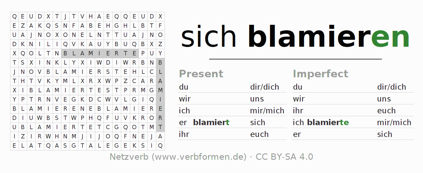 Word search puzzle for the conjugation of the verb sich blamieren