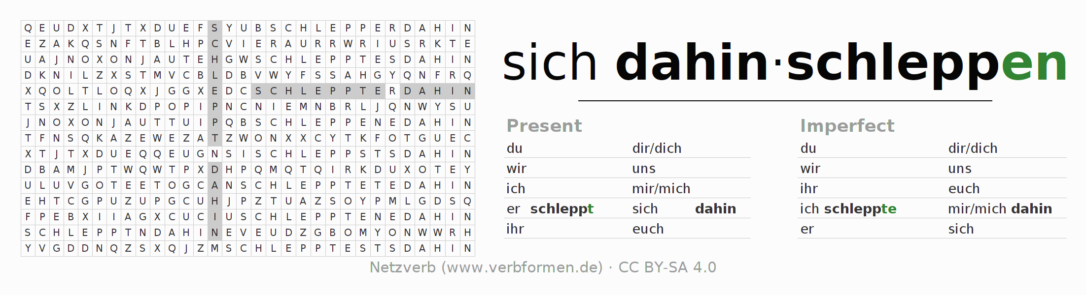 Word search puzzle for the conjugation of the verb sich dahinschleppen