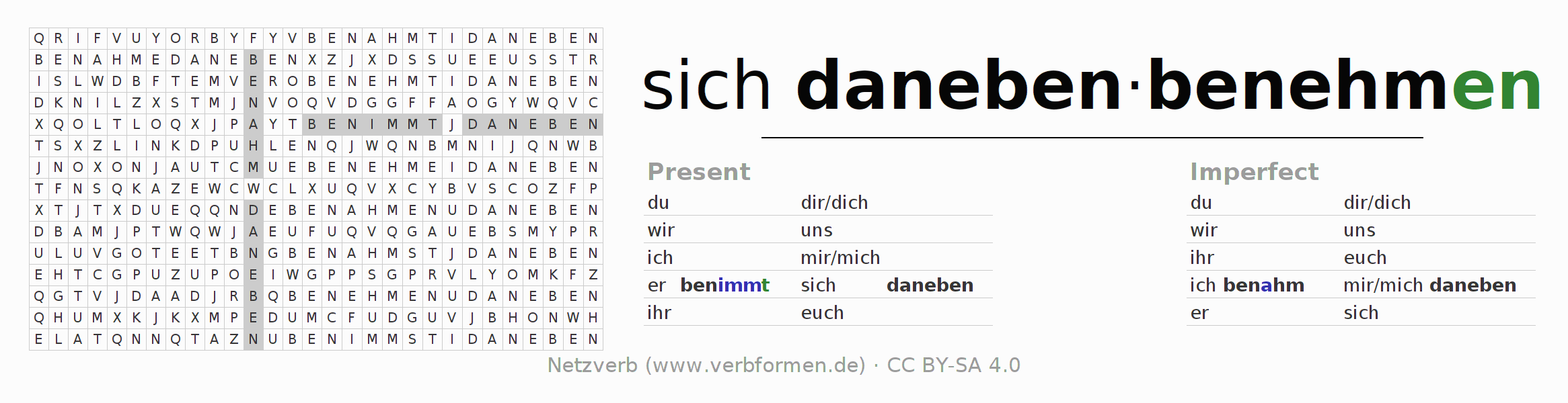 Word search puzzle for the conjugation of the verb sich danebenbenehmen