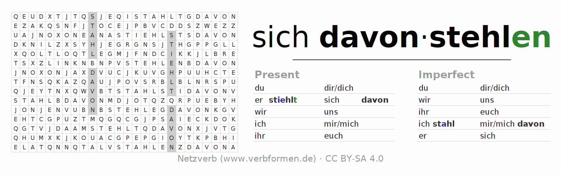 Word search puzzle for the conjugation of the verb sich davonstehlen