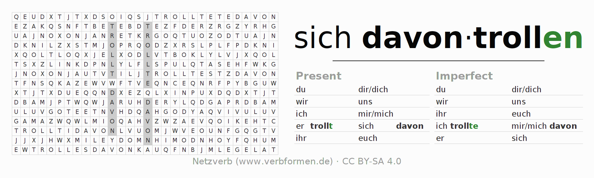 Word search puzzle for the conjugation of the verb sich davontrollen