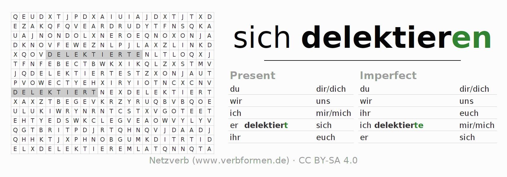 Word search puzzle for the conjugation of the verb sich delektieren