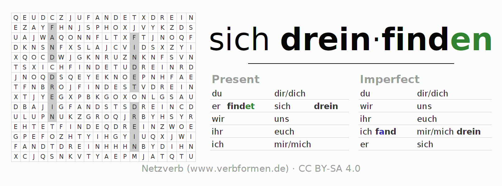 Word search puzzle for the conjugation of the verb sich dreinfinden
