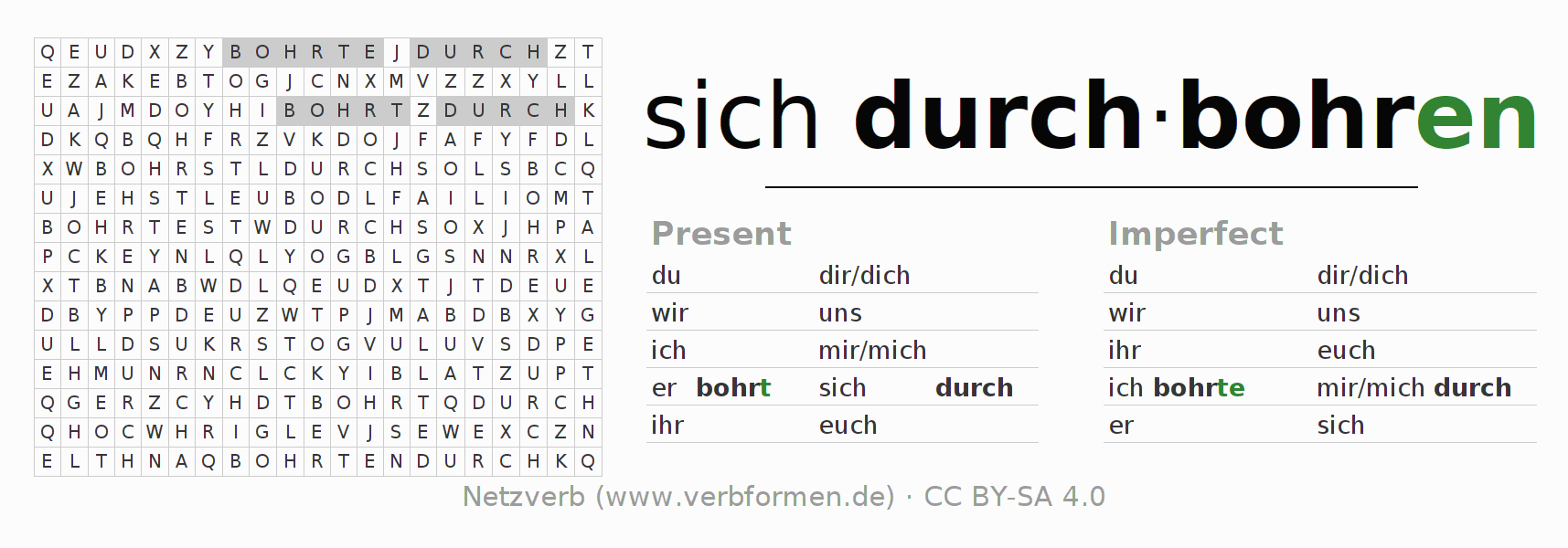 Word search puzzle for the conjugation of the verb sich durch-bohren