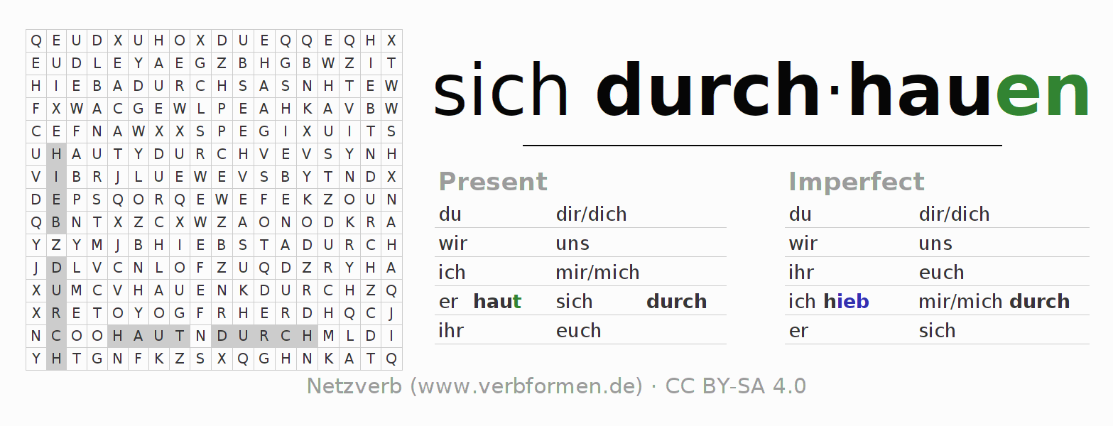 Word search puzzle for the conjugation of the verb sich durch-hauen (unr)