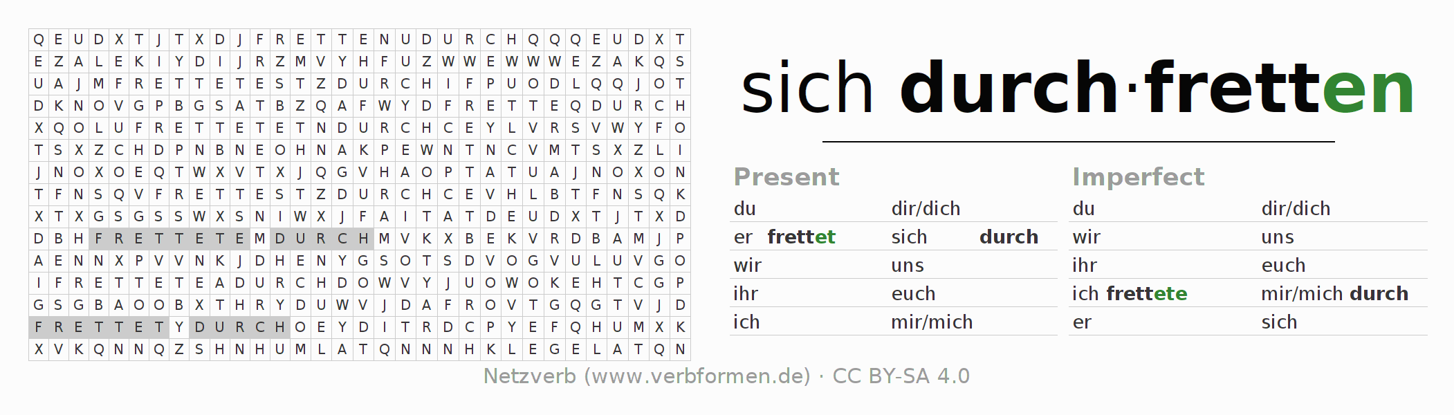 Word search puzzle for the conjugation of the verb sich durchfretten