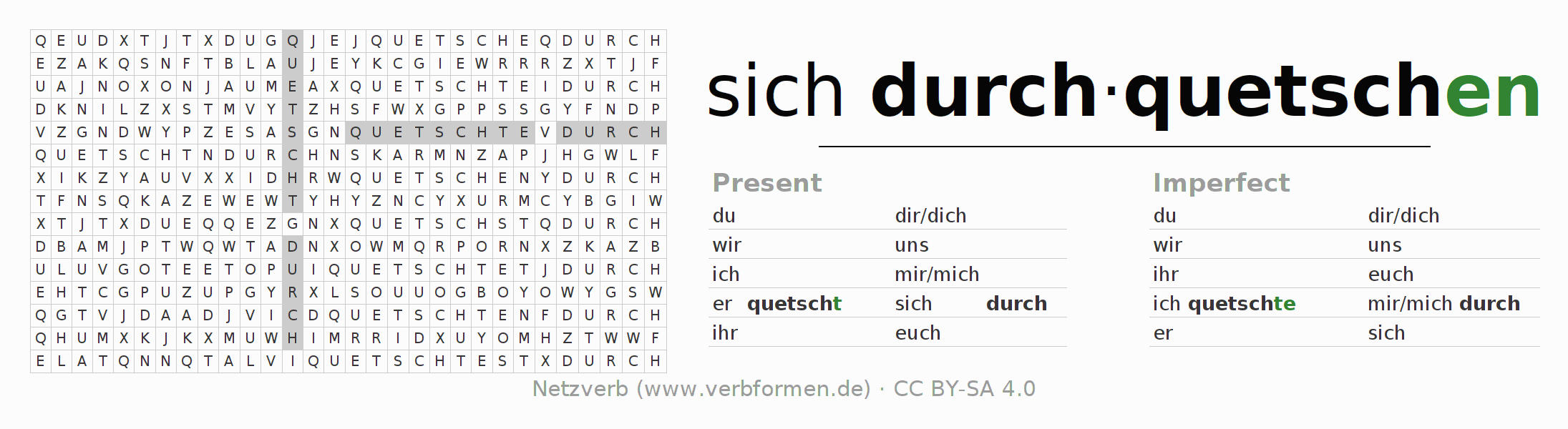Word search puzzle for the conjugation of the verb sich durchquetschen