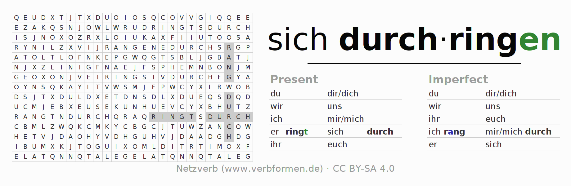 Word search puzzle for the conjugation of the verb sich durchringen