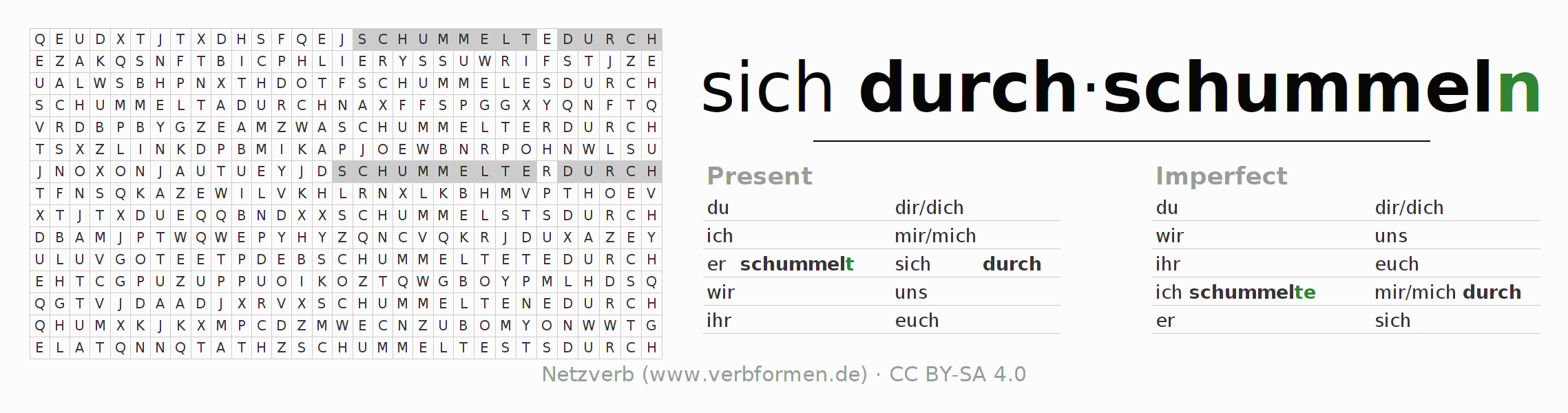 Word search puzzle for the conjugation of the verb sich durchschummeln
