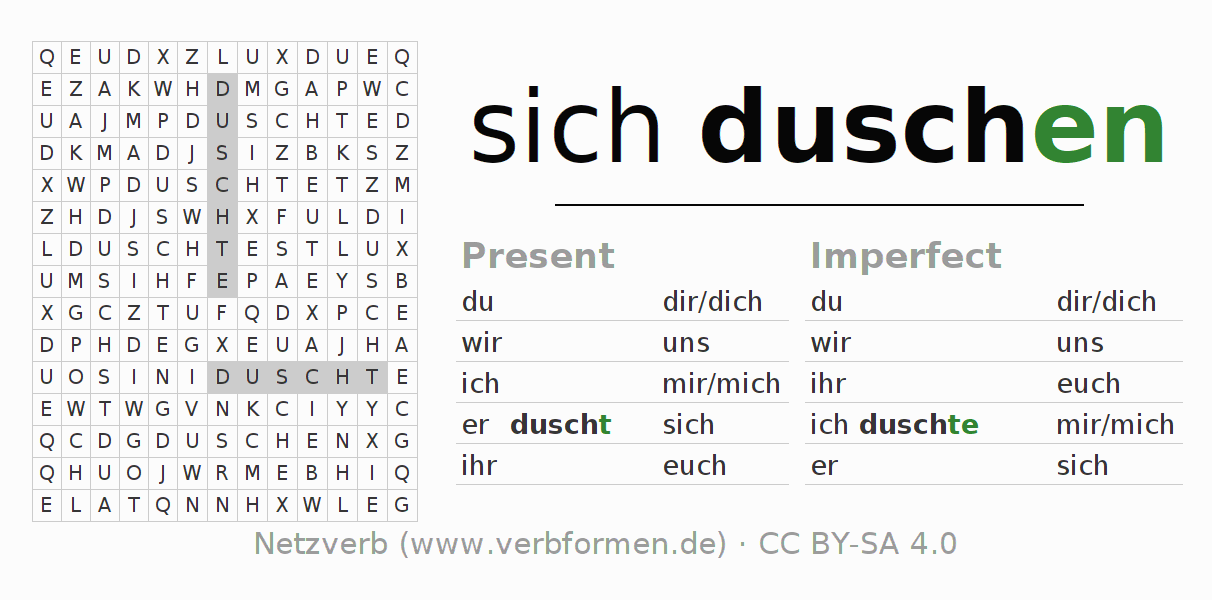 Word search puzzle for the conjugation of the verb sich duschen