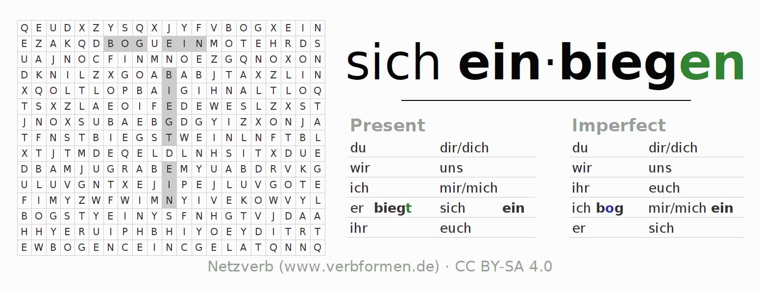Word search puzzle for the conjugation of the verb sich einbiegen (hat)
