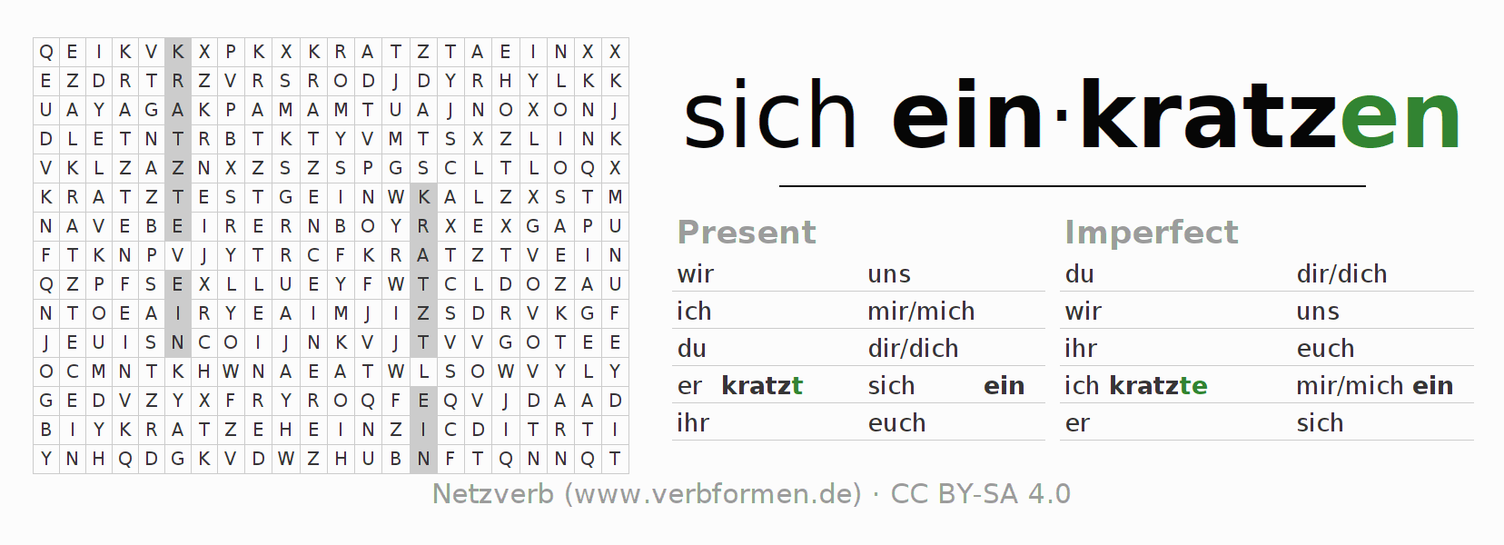 Word search puzzle for the conjugation of the verb sich einkratzen