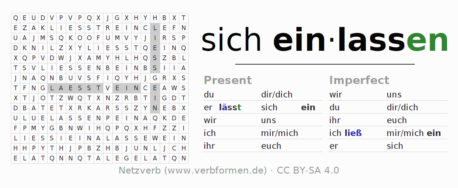 Word search puzzle for the conjugation of the verb sich einlassen