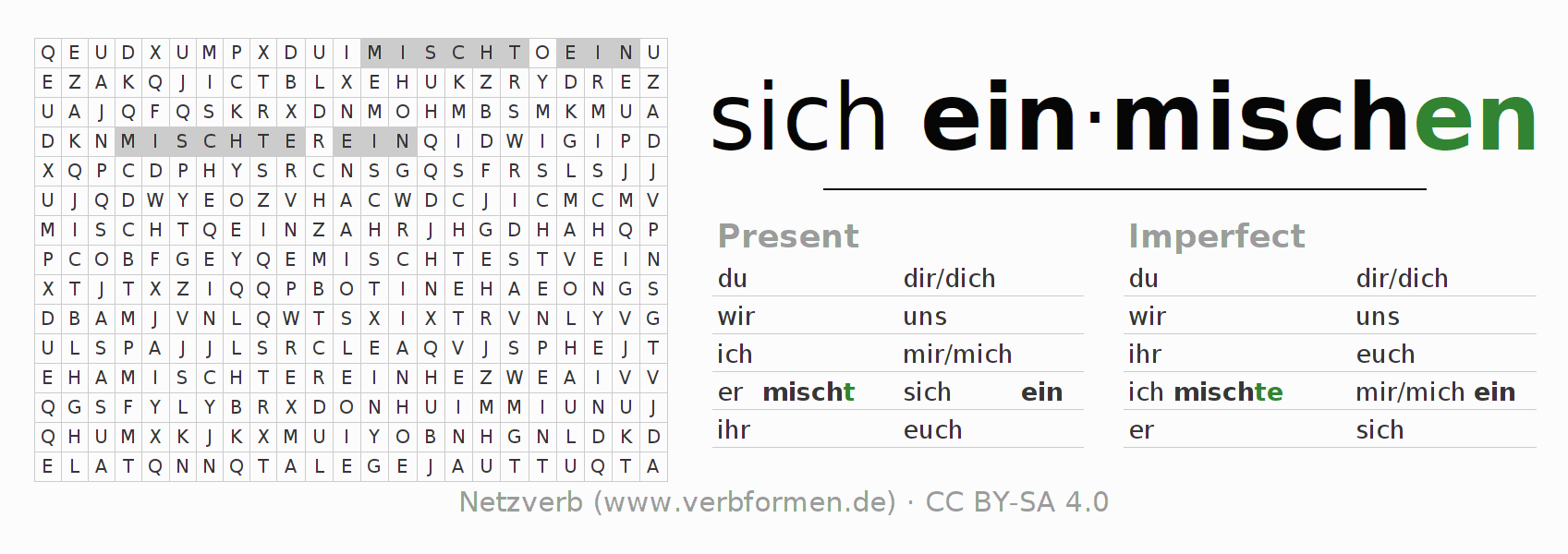 Word search puzzle for the conjugation of the verb sich einmischen