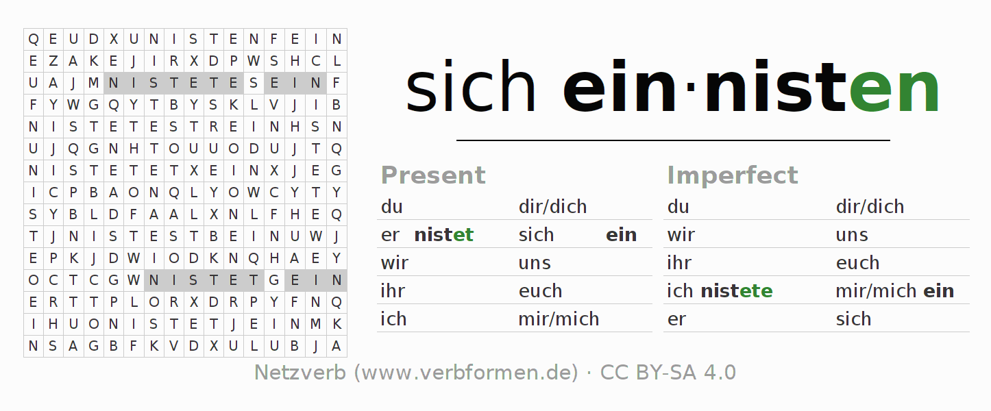 Word search puzzle for the conjugation of the verb sich einnisten