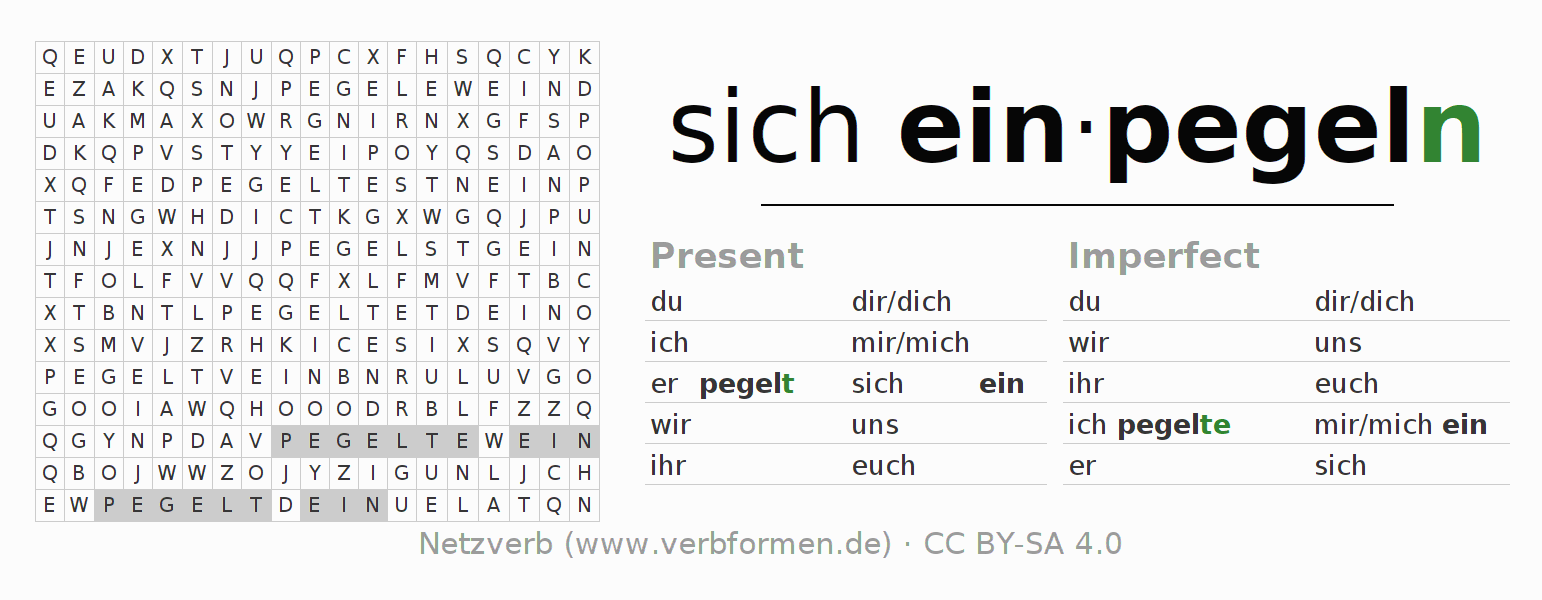 Word search puzzle for the conjugation of the verb sich einpegeln
