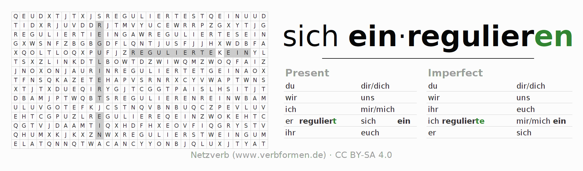 Word search puzzle for the conjugation of the verb sich einregulieren
